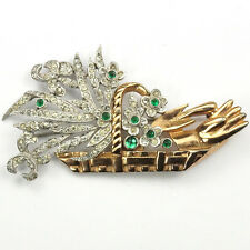 KTF Trifari Pave Gardening Glove & Trowel in a Golden Flower Basket Pin
