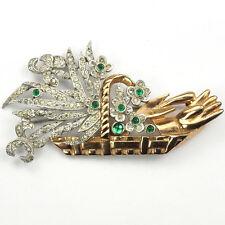 KTF Trifari Pave Gardening Glove & Trowel in a Golden Flower Basket Pin