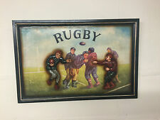 Vintage Style 3D Wooden Wall Art ~ Mens Rugby Victorian Sports Home Pub Club