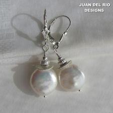 DeLuxe* 925 Biwa Perlen Ohrringe Zuchtperlen Fleur-de-Lis Brisur Silber Scheiben