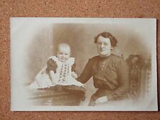 R&L Postcard: Vintage Photo of Edwardian Lady & Baby, Dress/Clothes/Fashion
