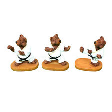 Mini 3 Bear Karate Set Of Figurines Martial Arts Gifts Three Display
