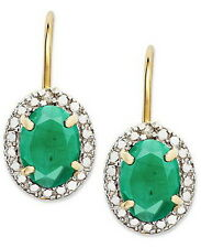 GENUINE DIAMONDS & EMERALD IN 14K GOLD OVER 925 SILVER DROP EARRINGS DE097