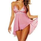 Ladies Lingerie Nightwear Underwear Sleepwear Babydoll+G String Lace Dress pink
