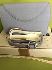 OLD RETRO VINTAGE lavender POWDER BLUE JACQUES VERT CLUTCH hand BAG PURSE & BELT