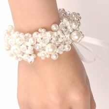 Beads Faux Pearl Acrylic Crystal Wedding Bridal Handmade White Ribbon Bracelet