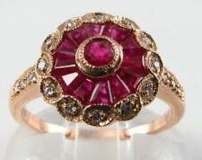 DIVINE 9K ROSE GOLD DECO INS INDIAN RUBY & DIAMOND RING