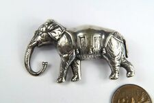 UNUSUAL ANTIQUE LATE VICTORIAN SILVER JUMBO ELEPHANT BROOCH c1890