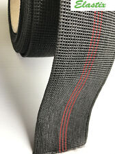 67mm BLACK WITH RED STRIPES FURNITURE WEBBING ELASTIC x 10 mts FREE DELIVERY