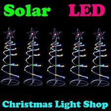 5x Solar LED Multicolour Spiral Christmas Trees Flashing Outdoor Lights Display