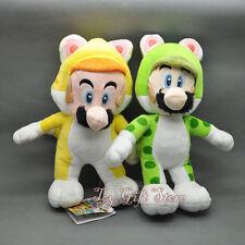 """New 2PCS Super Mario Bros. Plush Doll Stuffed Toy CAT MARIO & LUIGI 9-9.5"""""""