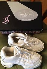 Revolution White Hip Hop Shoes Ultra Arch Dance Sneakers Leather Mesh Size 1 AD