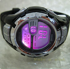 OHSEN Fasion Cool  Black Case 7color LED Light Sport Digital Men Boy Sport Watch