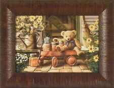 SPECIAL DELIVERY by Doug Knutson 10x13 FRAMED PRINT Teddy Bear Red Wagon Honey