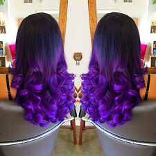 """24"""" Heat Resistant Lace Front Wig Synthetic Hair Loose Curly Ombre 1B/Purple"""