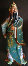 "13"" CHINESE PORCELAIN WARRIOR  JAPANESE SCHOLAR WITH SPEAR STAMPED"