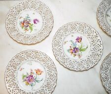 VINTAGE DRESDEN GERMANY SET OF FIVE (5) RETICULATED BREAD PLATES 6""