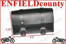 NEW BLACK LEATHER MADE TOOL BAG ROLL BOX+FITTING BSA NORTON TRIUMPH ARIEL @UK