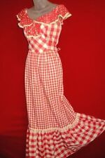 ARPEJA Young Innocent~Vtg Long Red Gingham Plaid Dress Sz 9~ Country schoolgirl