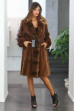 NEW WITH TAGS ITALIAN NATURAL SHEARED & LONGHAIR  MINK FUR COAT, SZ. M