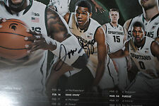 2014-15 TOM IZZO SIGNED Michigan State Spartans basketball schedule poster  b