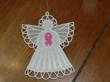 Embroidered Ornament - Christmas - Breast Cancer Angel