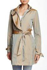 $400 COLE HAAN Travel COAT/Jacket NWT PACKABLE GLAM BEIGE Iridescent BLUE Sz L