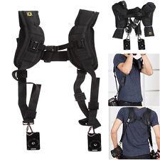 Quick Rapid Double Dual Shoulder Sling Belt Strap for DSLR Digital Camera Black