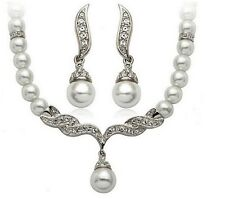 Tear Drop Silver Tone Pearl Necklace Earrings Wedding Bridal Trendy Jewelry Set