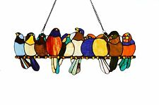 "BIRDS OF FEATHER 9.5"" x24.25"" STAINED GLASS BIRDS ON A WIRE WINDOW / WALL PANEL"