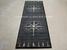 "3x8 (2'7"" x 7'4"") Runner Tropical Nautical Lighthouse Compass Carved Blue Rug"