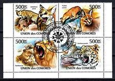 Animaux Félins Comores (91) série complète 4 timbres oblitérés