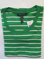 NWT Women's Polo Ralph Lauren Classic LS Round Neck T-Shirt Green White- Large