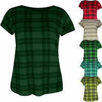 Womens Ladies New Rolled Cap Sleeve Print Check T-shirt Top Tee Short Summer