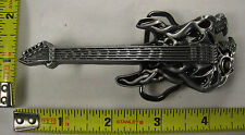 DEMON GUITAR METAL BELT BUCKLE ROCK STAR SCREAMING SKULL NEW B460