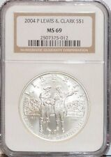 2004 P LEWIS & CLARK COMMEMORATIVE SILVER $1 DOLLAR COIN. NGC MS 69. 2507375-012