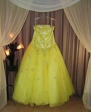 Amazingly Full Corset & Tulle Yellow Prom Pageant Gown by Alyce Designs Sz 20