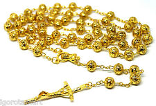 Men Jesus Cross Crucifix Pendant 18k Gold Bead Balls Rosary Necklace Jewelry UK
