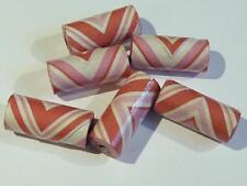 Pack De 6 Papel Hecho A Mano Perlas-Tubo En Forma-Rosa - 20 Mm...... b1977 *