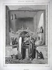 GRAVURE ANCIENNE 19e - UNE BOUTIQUE EN EGYPTE