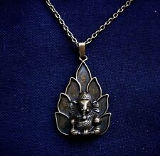 Ganesh Ganesha Elephant God Antiqued Bronze Tone Necklace 18 inch