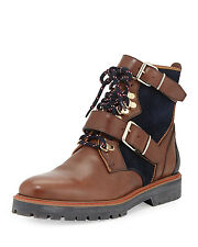 Burberry Utterback Lace-Up Leather Hiking Boot, Dark Umber Brown size 36.5 new