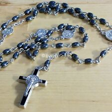 "New St Benedict Oval Hematite Black Beads Chained Rosary For Men 20""L"