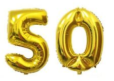 "40"" Large 50 Gold Number Balloons 50th Birthday Anniversary Foil Float Helium"