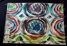 VINTAGE IMPERIAL FABRIC BARKCLOTH SAMPLES-ABSTRACT CIRCLES WITH LEAVES