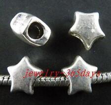 40pcs Tibetan Silver Star Large Hole Spacers Fit Bracelet 11x10x7mm 1515