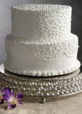 "Crystal Beaded Glass Wedding Cake Stands Silver Cake Cups Plates Round 14"" Size"