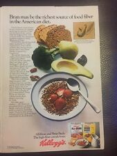 Vintage 1980s Kellogg's Cereal Print Advertisement All bran Bran buds