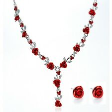 Silver Plated Red Rose Necklace, Earrings Bridal Prom Jewelry Set