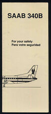AMERICAN EAGLE saab 340 B SAFETY CARD airline brochure ee e256